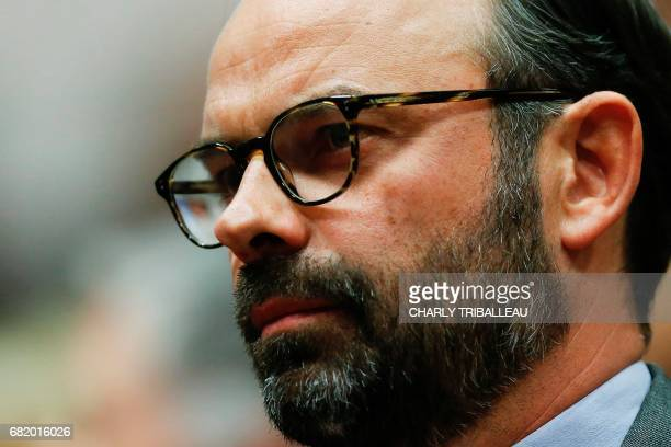 Mayor of Le Havre Edouard Philippe prepares to present the candidates of 'La Republique en marche' ahead of the June parliamentary elections on May...