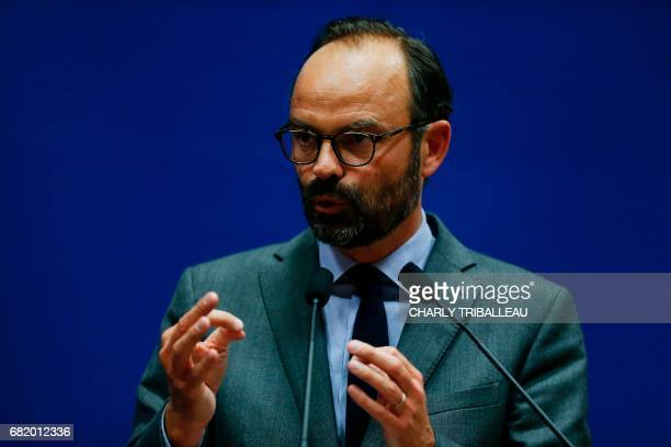Mayor of Le Havre Edouard Philippe presents the candidates for the 'La Republique en marche' party ahead of the June parliamentary elections on May...
