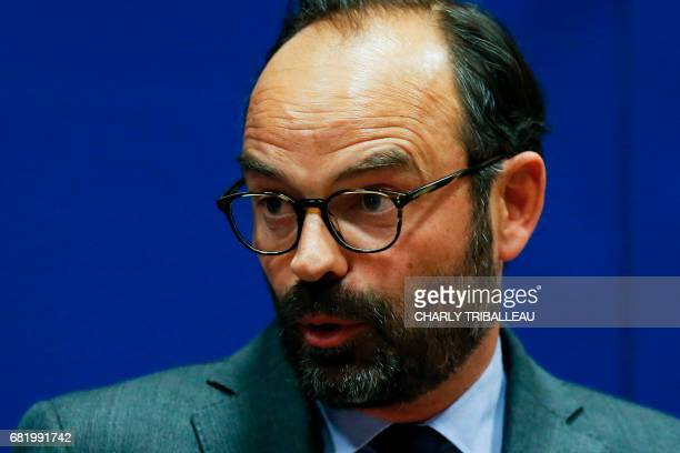 Mayor of Le Havre Edouard Philippe speaks as he presents the candidates for the 'La Republique en marche' party ahead of the June parliamentary...
