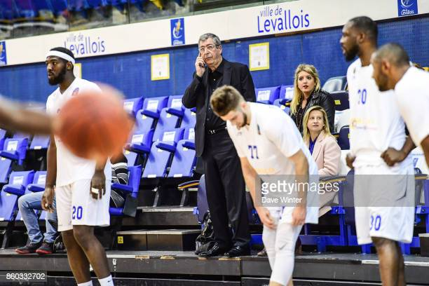 Mayor of Levallois Patrick Balkany during the EuropCup match between Levallois Metropolitans and Darussafaka Istanbul at Salle Marcel Cerdan on...