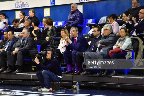 Mayor of Levallois Patrick Balkany during the EuropCup match between Levallois Metropolitans and Cedevita Zagreb at Salle Marcel Cerdan on November 8...