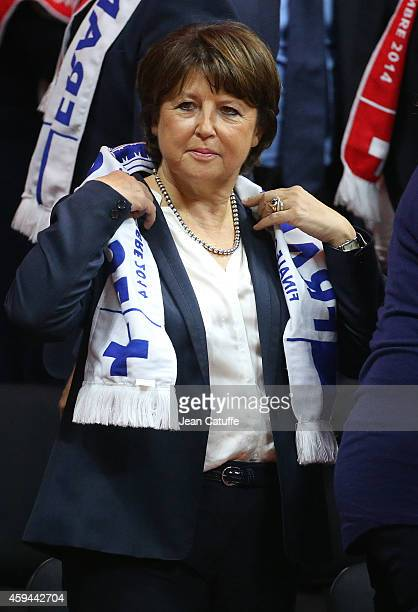 Mayor of Lille Martine Aubry attends the doubles on day two of the Davis Cup tennis final between France and Switzerland at the Grand Stade Pierre...