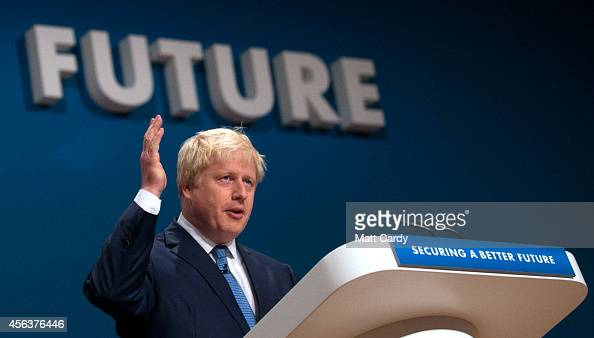 Mayor of London Boris Johnson addresses the Conservative Party Conference in the main hall of the ICC Birmingham on on September 30 2014 in...
