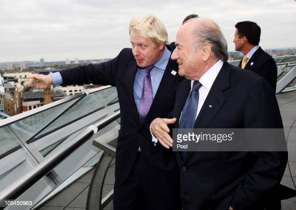 Mayor of London Boris Johnson and FIFA President Joseph Blatter look out over the city from the roof of City Hall during the FIFA President's visit...