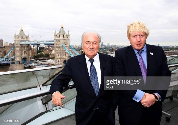 Mayor of London Boris Johnson and FIFA President Joseph Blatter pose on the roof of City Hall during the FIFA President's visit October 13 2010 in...
