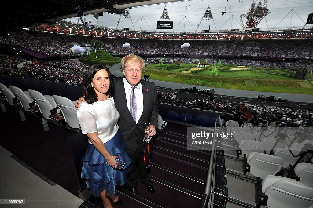 Mayor of London <a gi-track='captionPersonalityLinkClicked' href=/galleries/search?phrase=Boris+Johnson&family=editorial&specificpeople=209016 ng-click='$event.stopPropagation()'>Boris Johnson</a> and his wife Marina Wheeler arrive for the start of the Olympic Games 2012 Opening Ceremony on July 27, 2012 in London, England. Athletes, heads of state and dignitaries from around the world have gathered in the Olympic Stadium for the opening ceremony of the 30th Olympiad. London plays host to the 2012 Olympic Games which will see 26 sports contested by 10,500 athletes over 17 days of competition.