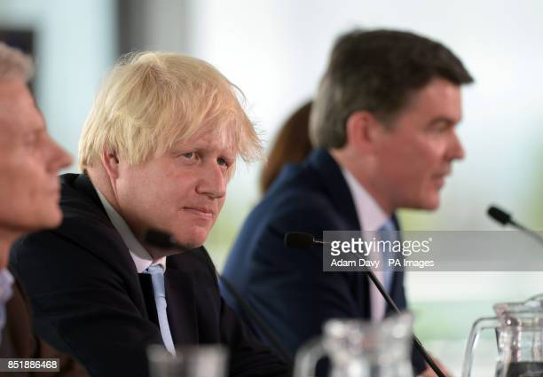 Mayor of London Boris Johnson and Minister for Sport Hugh Robertson during a press conference at the City Hall London