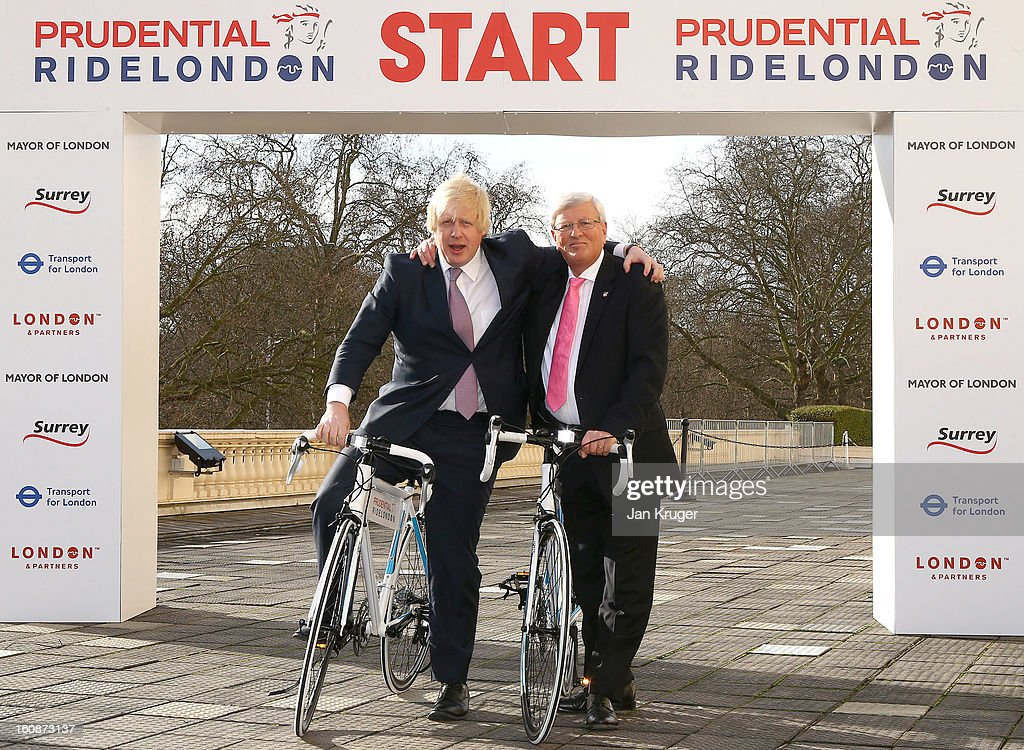 Mayor of London <a gi-track='captionPersonalityLinkClicked' href=/galleries/search?phrase=Boris+Johnson&family=editorial&specificpeople=209016 ng-click='$event.stopPropagation()'>Boris Johnson</a> and Surrey County Council Leader David Hodge pose during the Prudential RideLondon Announcement at Prince Phillip House on February 7, 2013 in London, England.