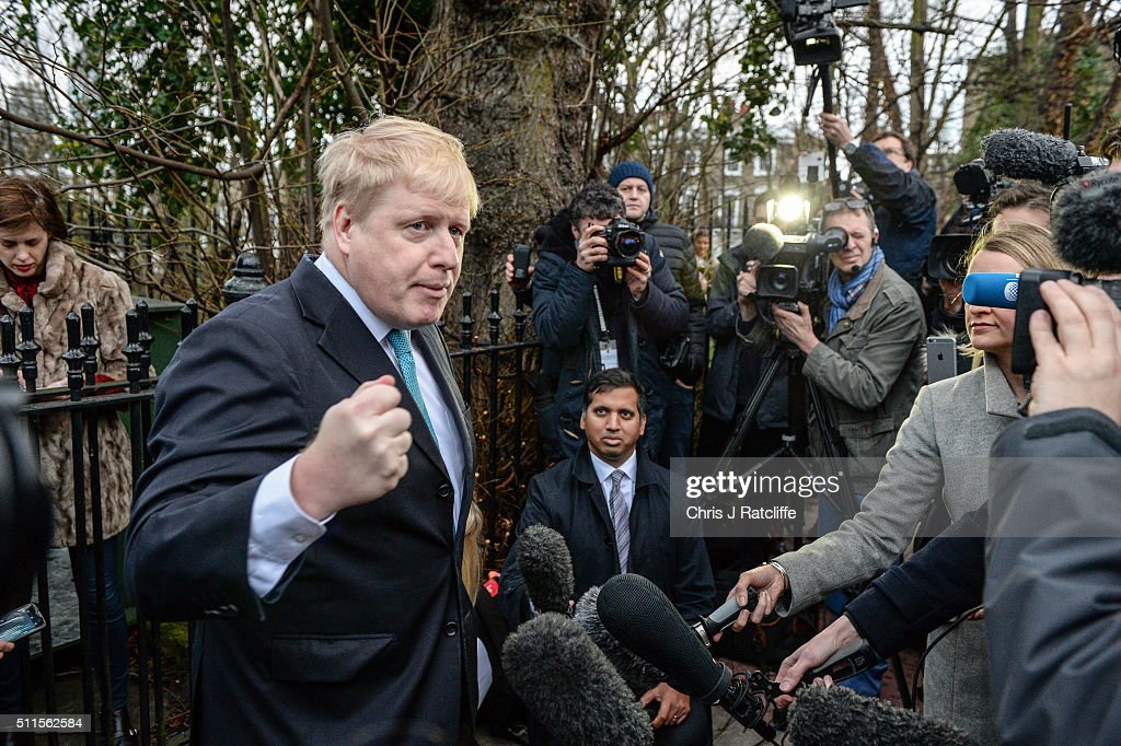 Mayor of London <a gi-track='captionPersonalityLinkClicked' href=/galleries/search?phrase=Boris+Johnson&family=editorial&specificpeople=209016 ng-click='$event.stopPropagation()'>Boris Johnson</a> announces that he will be backing the 'Leave EU' campaign whilst speaking to the press outside his London homeÊon February 21, 2016 in London, England. Mr Johnson announced his intentions for the EU referendum and to which campaign he will lend his support.