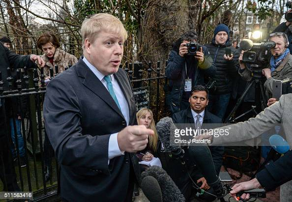 Mayor of London Boris Johnson announces that he will be backing the 'Leave EU' campaign whilst speaking to the press outside his London home on...
