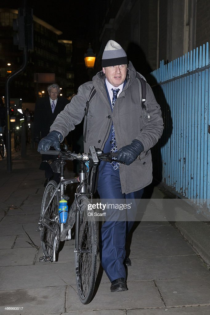 Mayor of London Boris Johnson arrives at the Old Billingsgate Market to attend the the annual Conservative Party Black and White Fundraising Ball on...