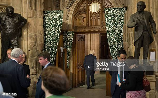 Mayor of London Boris Johnson arrives in the House of Commons chamber following the State Opening of Parliament at the Palace of Westminster on May...