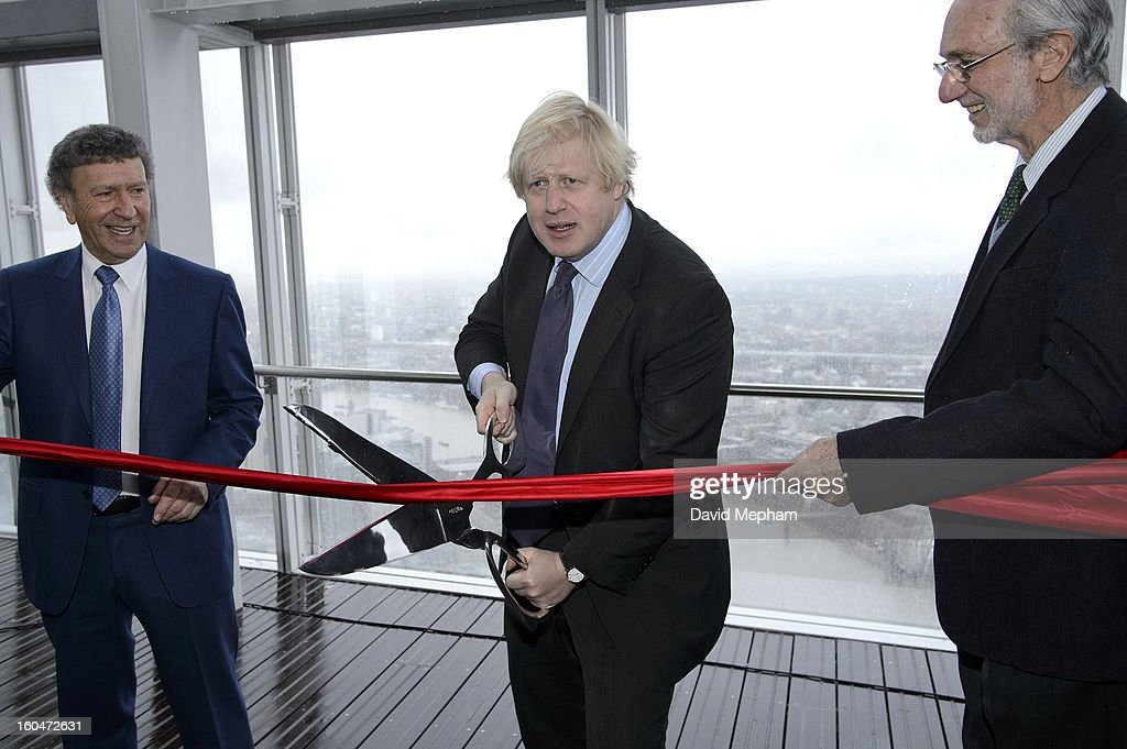 Mayor of London <a gi-track='captionPersonalityLinkClicked' href=/galleries/search?phrase=Boris+Johnson&family=editorial&specificpeople=209016 ng-click='$event.stopPropagation()'>Boris Johnson</a> at the official opening of The Shard on February 1, 2013 in London, England.