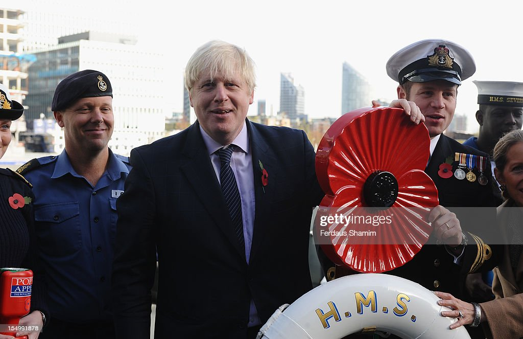 Mayor of London <a gi-track='captionPersonalityLinkClicked' href=/galleries/search?phrase=Boris+Johnson&family=editorial&specificpeople=209016 ng-click='$event.stopPropagation()'>Boris Johnson</a> attends a photocall to launch the largest ever London Poppy Day, aboard HMS Severn on October 30, 2012 in London, England.