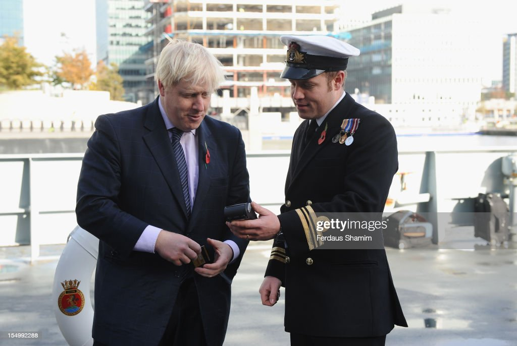 Mayor of London <a gi-track='captionPersonalityLinkClicked' href=/galleries/search?phrase=Boris+Johnson&family=editorial&specificpeople=209016 ng-click='$event.stopPropagation()'>Boris Johnson</a> attends a photocall to launch the largest ever London Poppy Day aboard HMS Severn on October 30, 2012 in London, England.