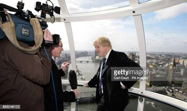 Mayor of London Boris Johnson being interviewed on the London Eye on the first day of British Tourism Week to announce a new international marketing...
