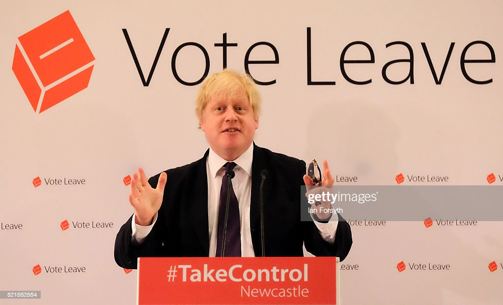 Mayor of London <a gi-track='captionPersonalityLinkClicked' href=/galleries/search?phrase=Boris+Johnson&family=editorial&specificpeople=209016 ng-click='$event.stopPropagation()'>Boris Johnson</a> delivers a speech at a 'Vote Leave' rally at the Centre for Life on April 16, 2016 in Newcastle upon Tyne, England. <a gi-track='captionPersonalityLinkClicked' href=/galleries/search?phrase=Boris+Johnson&family=editorial&specificpeople=209016 ng-click='$event.stopPropagation()'>Boris Johnson</a> is taking part in a 48 hour 'Brexit Blitz' of campaigning in Northern England. Britain will vote either to leave or remain in the EU in a referendum on June 23.