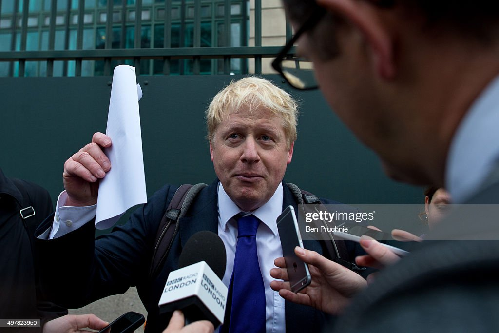 Mayor of London Boris Johnson is interviewed by journalists at the launch of London's first cycle superhighway on November 19, 2015 in London, England. Superhighway 5 (CS5) is the capital's first two lane fully segregated cycle superhighway.