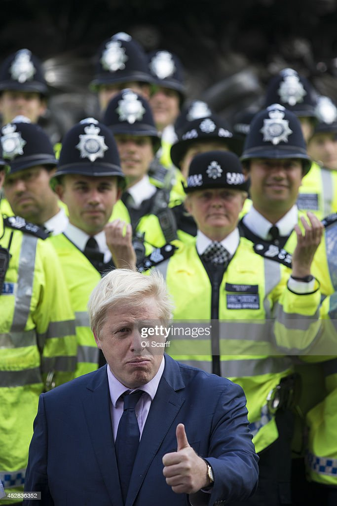 Mayor of London <a gi-track='captionPersonalityLinkClicked' href=/galleries/search?phrase=Boris+Johnson&family=editorial&specificpeople=209016 ng-click='$event.stopPropagation()'>Boris Johnson</a> is joined by police officers as he announces a new team of 100 officers who will be dedicated to serve in London's West End on July 28, 2014 in London, England. Over 28 million tourists visit the West End every year, with Leicester Square in particular having over 225,000 visitors every Saturday night. The West End accounts for almost half of the borough of Westminster's total recorded crime.