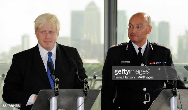 Mayor of London Boris Johnson left and by the Deputy Commissioner of the Metropolitan Police Sir Paul Stephenson jointly launch a major new crime...
