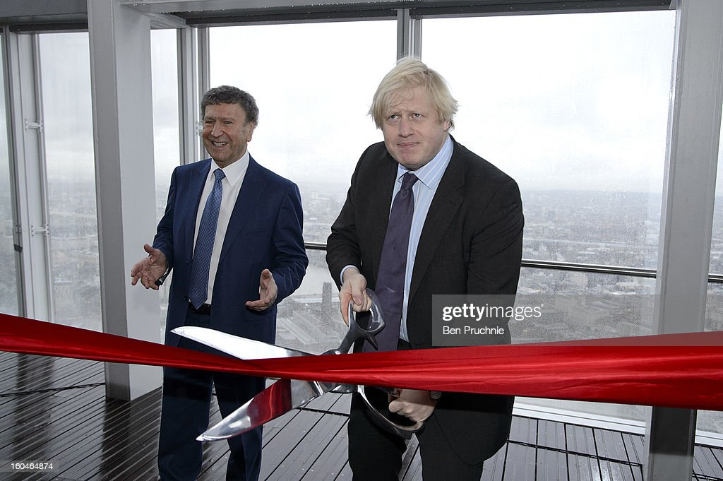 Mayor of London Boris Johnson officially opens The View from The Shard viewing platform at The Shard on February 1, 2013 in London, England.