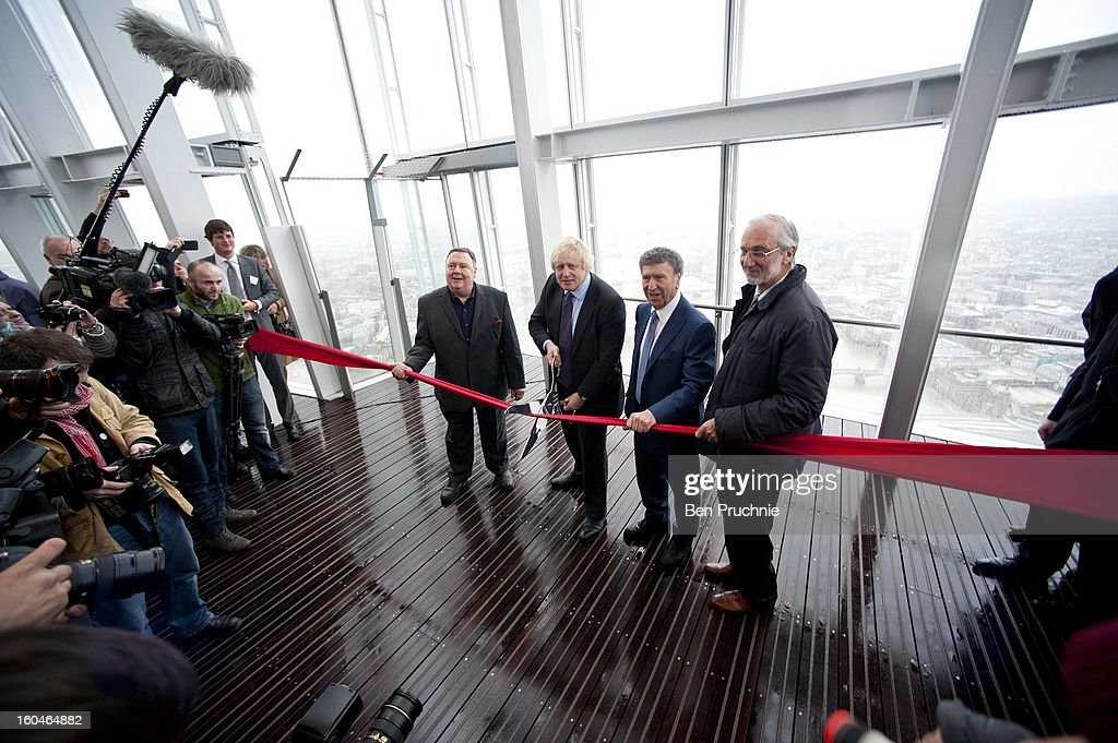 Mayor of London <a gi-track='captionPersonalityLinkClicked' href=/galleries/search?phrase=Boris+Johnson&family=editorial&specificpeople=209016 ng-click='$event.stopPropagation()'>Boris Johnson</a> officially opens The View from The Shard viewing platform at The Shard on February 1, 2013 in London, England.