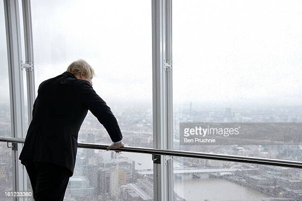 Mayor of London Boris Johnson officially opens The View from The Shard viewing platform at The Shard on February 1 2013 in London England