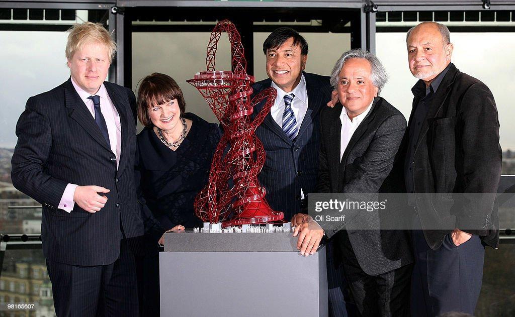 Mayor of London Boris Johnson Olympics Minister Tessa Jowell Steel magnate Lakshmi Mittal Artist Anish Kapoor and Structural designer Cecil Balmond...