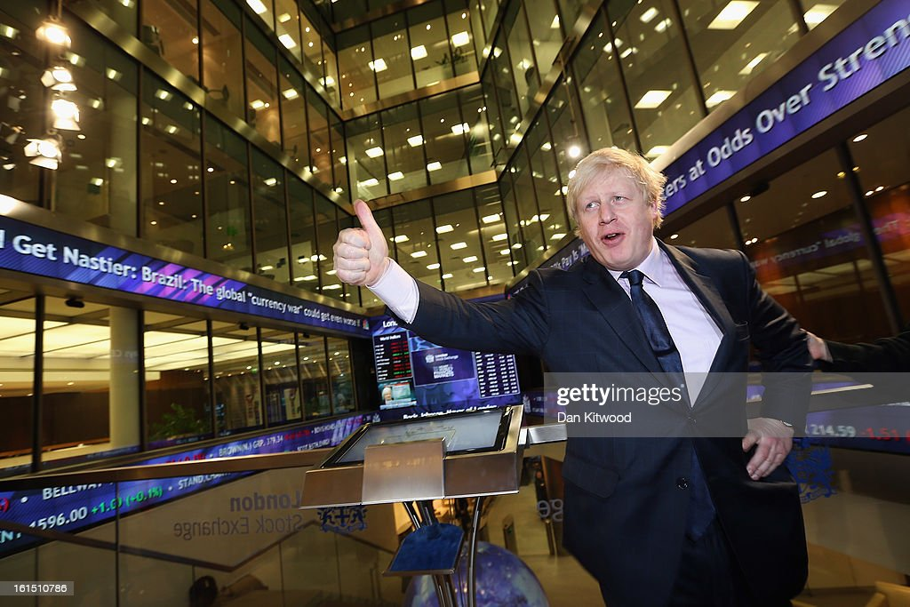 Mayor of London <a gi-track='captionPersonalityLinkClicked' href=/galleries/search?phrase=Boris+Johnson&family=editorial&specificpeople=209016 ng-click='$event.stopPropagation()'>Boris Johnson</a> poses during a press call after opening trading at the London Stock Exchange on February 12, 2013 in London, England. Today marks the first time the Mayor <a gi-track='captionPersonalityLinkClicked' href=/galleries/search?phrase=Boris+Johnson&family=editorial&specificpeople=209016 ng-click='$event.stopPropagation()'>Boris Johnson</a> has undertaken the job of activating the market.