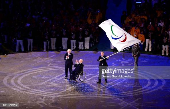 Mayor of London Boris Johnson President of the IPC Sir Philip Craven MBE and Mayor of Rio de Janeiro Eduardo Paes perform the Paralympic flag...