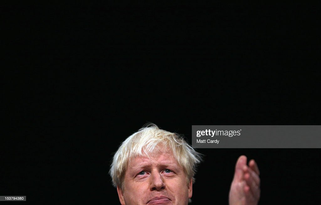 Mayor of London, <a gi-track='captionPersonalityLinkClicked' href=/galleries/search?phrase=Boris+Johnson&family=editorial&specificpeople=209016 ng-click='$event.stopPropagation()'>Boris Johnson</a> speaks at the Conservative party conference at the International Convention Centre on October 9, 2012 in Birmingham, England. The annual, four-day Conservative party conference began on Sunday and featured speeches from Cabinet ministers and the Mayor of London.