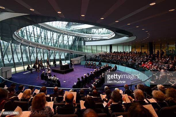 Mayor of London Boris Johnson speaks during the annual GLA remembrance service in City Hall on November 6 2015 in London England The service in which...