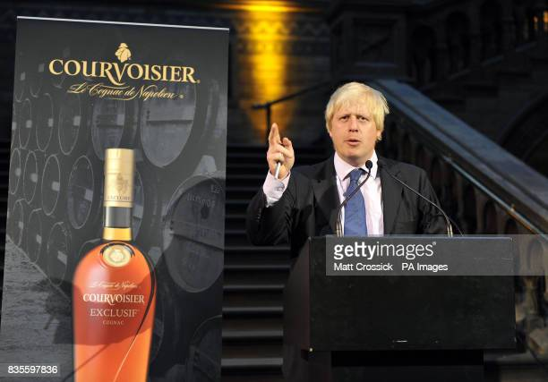 Mayor of London Boris Johnson speaks during the Courvoisier Square Mile Masked Ball held at the Natural History Museum in central London