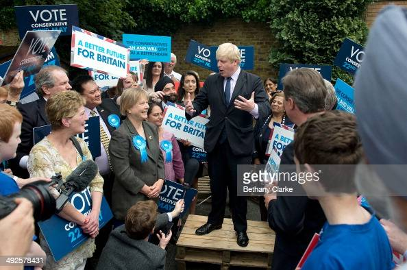 Mayor of London Boris Johnson talks during a campaign rally on May 21 2014 in Ealing England The rally comes in the final day of campaigning before...