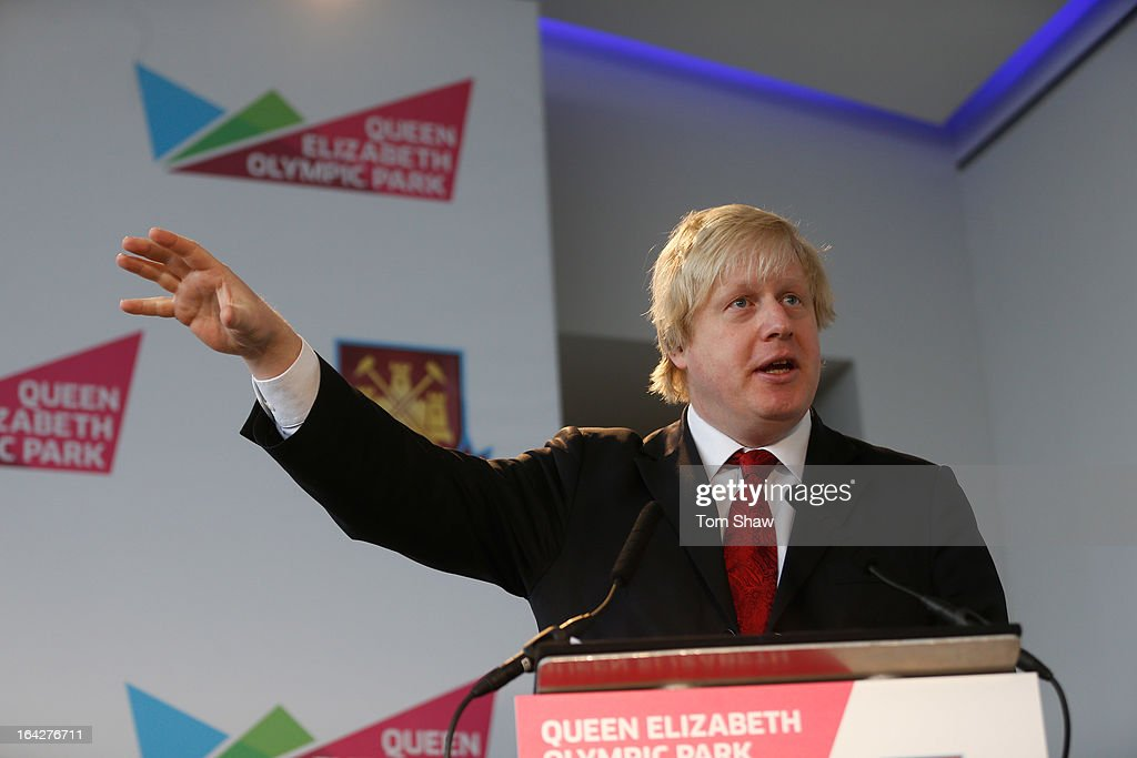 Mayor of London <a gi-track='captionPersonalityLinkClicked' href=/galleries/search?phrase=Boris+Johnson&family=editorial&specificpeople=209016 ng-click='$event.stopPropagation()'>Boris Johnson</a> talks to the press during the press conference to announce the future of the Olympic Stadium on March 22, 2013 in London, England. West Ham United have been announced as the main tenants of the Olympic Stadium, paying 15 million GBP upfront towards conversion costs and an annual rent of 2 million GBP. West Ham will play their home matches at the Stadium from 2016.
