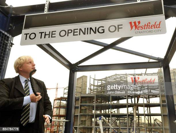 Mayor of London Boris Johnson unveils a digital clock that will countdown the days hours and minutes until the opening ceremony of Westfield's...