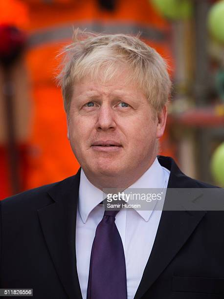 Mayor of London Boris Johnson visits the Crossrail Station site at Bond Street Crossrail on February 23 2016 in London England