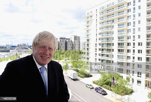 Mayor of London Boris Johnson visits the Olympic Park and Olympic Village on July 12 2012 in London England