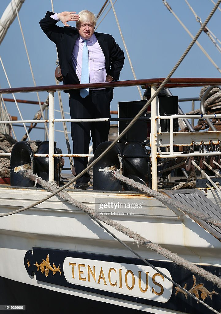Mayor of London Boris Johnson visits Training Ship Tenacious on the River Thames at Woolwich on September 8 2014 in London England The Tenacious is...