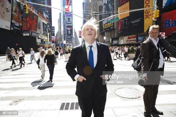 Mayor of London Boris Johnson walks around Times Square after visiting the stars of the Broadway show Billy Elliot on September 13 2009 in New York...