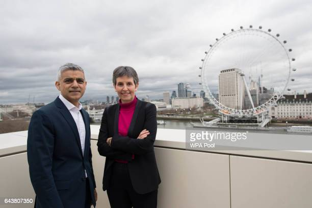 Mayor of London Sadiq Kha and newly appointed Metropolitan Police commissioner Cressida Dick pose for a photo at New Scotland Yard after Ms Dick...
