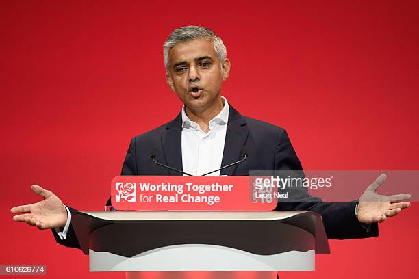 Mayor of London Sadiq Khan addresses delegates at the Labour Party conference on September 27 2016 in Liverpool England On day three of the annual...