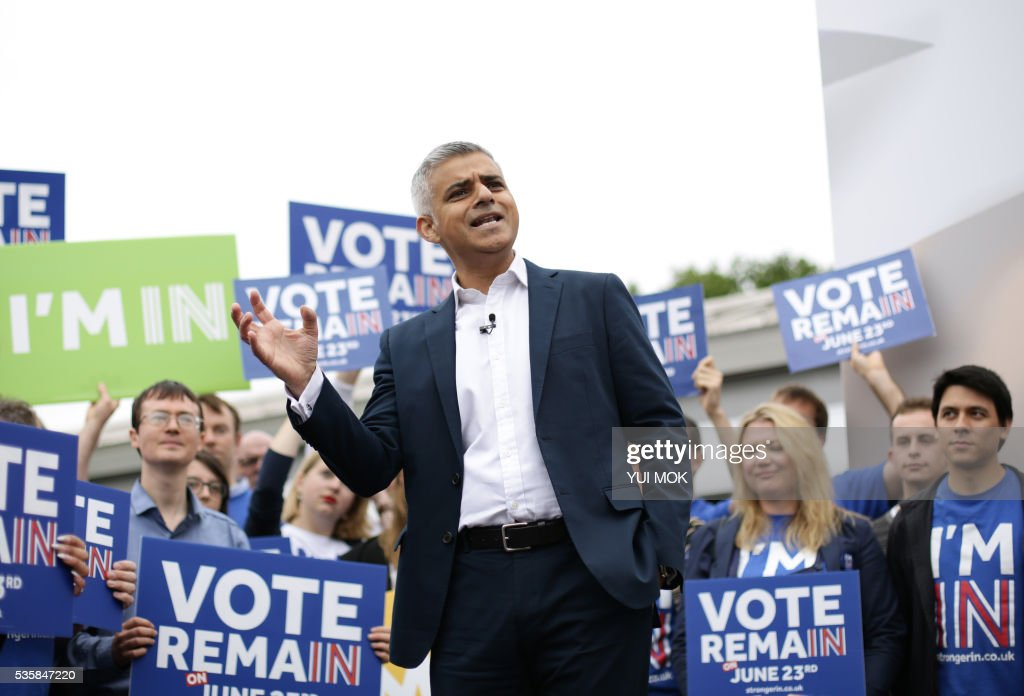 Mayor of London, Sadiq Khan, addresses supporters as he and Britain's Prime Minister David Cameron (not pictured) launch the 'Britain Stronger In Europe' guarantee card in west London on May 30, 2016, ahead of the EU referendum in Britain on June 23, 2016. / AFP / POOL / Yui Mok