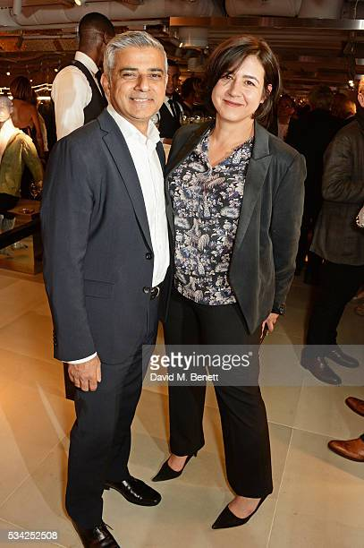 Mayor of London Sadiq Khan and Londoner's Diary editor Joy Lo Dico attend the London Evening Standard Londoner's Diary 100th Birthday Party in...