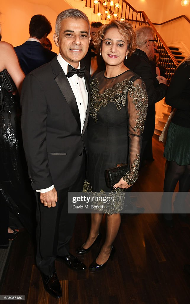 Mayor of London Sadiq Khan (L) and Saadiya Khan attend a cocktail reception at The 62nd London Evening Standard Theatre Awards, recognising excellence from across the world of theatre and beyond, at The Old Vic Theatre on November 13, 2016 in London, England.