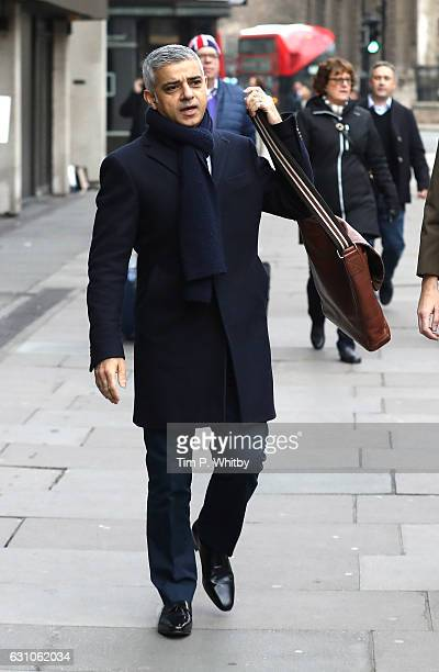 Mayor of London Sadiq Khan arrives at the BFC Show Space The Store Studios during London Fashion Week Men's January 2017 collections at on January 6...