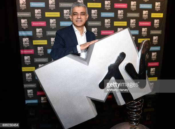 Mayor of London Sadiq Khan at a photocall to announce London as the host city for the 2017 MTV EMA's at MTV London on February 14 2017 in London...