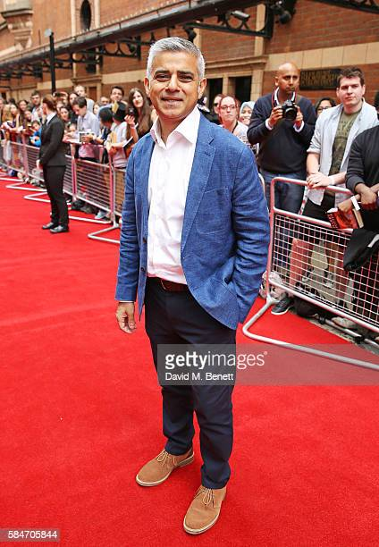 Mayor of London Sadiq Khan attends the press preview of 'Harry Potter The Cursed Child' at The Palace Theatre on July 30 2016 in London England