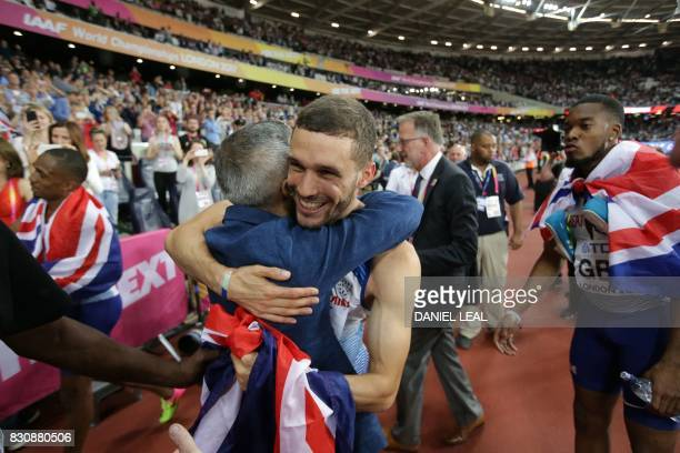 Mayor of London Sadiq Khan congratulates British Daniel Talbot after the final of the men's 4x100m relay athletics event at the 2017 IAAF World...