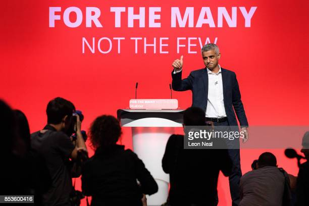 Mayor of London Sadiq Khan gestures to supporters after addressing delegates in the main hall on the second day of the Labour Party conference on...